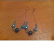 Modré korálkové naušnice